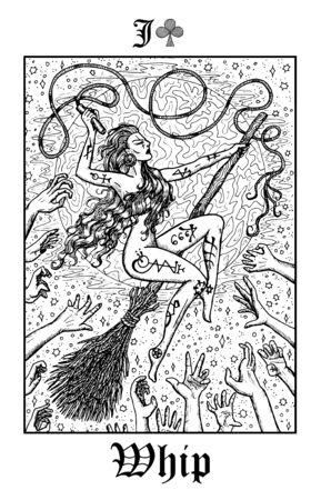 Whip. Tarot card from vector Lenormand Gothic Mysteries oracle deck. Black and white engraved illustration. Fantasy and mystic line art drawing. Gothic, occult and esoteric background