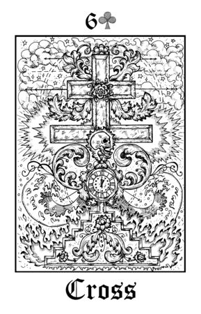Cross and skull. Tarot card from vector Lenormand Gothic Mysteries oracle deck. Black and white engraved illustration. Fantasy and mystic line art drawing. Gothic, occult and esoteric background