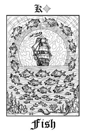 Fish or ship symbol. Tarot card from vector Lenormand Gothic Mysteries oracle deck. Black and white engraved illustration. Fantasy and mystic line art drawing. Gothic, occult and esoteric background Illustration