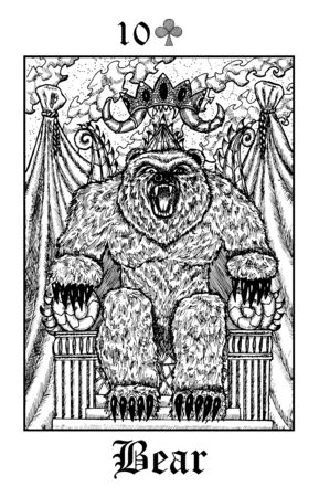 Bear. Tarot card from vector Lenormand Gothic Mysteries oracle deck. Black and white engraved illustration. Fantasy and mystic line art drawing. Gothic, occult and esoteric background