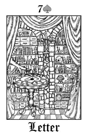 Letter. Tarot card from vector Lenormand Gothic Mysteries oracle deck. Black and white engraved illustration. Fantasy and mystic line art drawing. Gothic, occult and esoteric background