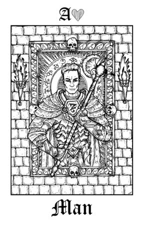 Man or knight. Tarot card from vector Lenormand Gothic Mysteries oracle deck. Black and white engraved illustration. Fantasy and mystic line art drawing. Gothic, occult and esoteric background