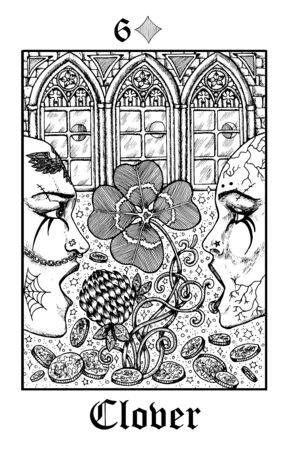 Clover. Tarot card from vector Lenormand Gothic Mysteries oracle deck. Black and white engraved illustration. Fantasy and mystic line art drawing. Gothic, occult and esoteric background Illustration