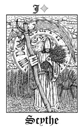 Scythe. Tarot card from vector Lenormand Gothic Mysteries oracle deck. Black and white engraved illustration. Fantasy and mystic line art drawing. Gothic, occult and esoteric background