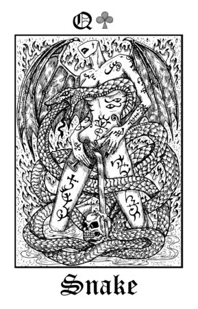 Snake symbol. Tarot card from vector Lenormand Gothic Mysteries oracle deck. Black and white engraved illustration. Fantasy and mystic line art drawing. Gothic, occult and esoteric background
