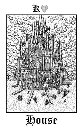 House castle. Tarot card from vector Lenormand Gothic Mysteries oracle deck. Black and white engraved illustration. Fantasy and mystic line art drawing. Gothic, occult and esoteric background