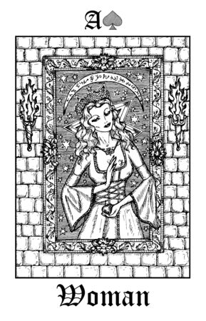 Woman or princess. Tarot card from vector Lenormand Gothic Mysteries oracle deck. Black and white engraved illustration. Fantasy and mystic line art drawing. Gothic, occult and esoteric background