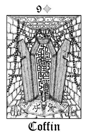 Coffin. Tarot card from vector Lenormand Gothic Mysteries oracle deck. Black and white engraved illustration. Fantasy and mystic line art drawing. Gothic, occult and esoteric background