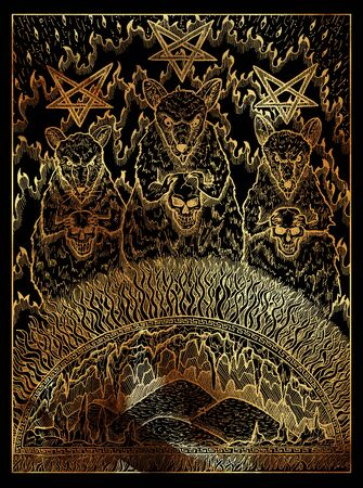 Rats. Mystic wiccan concept for Lenormand oracle tarot card. Golden engraved illustration on black. Fantasy line art drawing. Gothic, occult and esoteric background