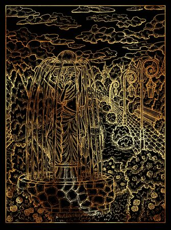Garden. Mystic wiccan concept for Lenormand oracle tarot card. Golden engraved illustration on black. Fantasy line art drawing. Gothic, occult and esoteric background 写真素材