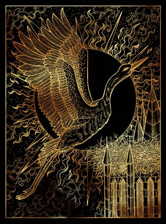 Stork. Mystic wiccan concept for Lenormand oracle tarot card. Golden engraved illustration on black. Fantasy line art drawing. Gothic, occult and esoteric background