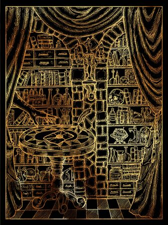 Letter. Mystic wiccan concept for Lenormand oracle tarot card. Golden engraved illustration on black. Fantasy line art drawing. Gothic, occult and esoteric background