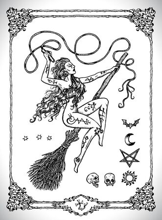 Witch woman on broomstick isolated. Vector line art engraved illustration in gothic style. No foreign language, all symbols are fantasy. Occult, esoteric, Halloween and mystic concept.