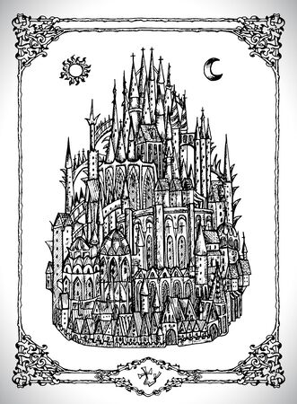 Mediaval castle or town witth towers. Vector line art mystic illustration. Engraved drawing in gothic style. Occult, esoteric and fantasy concept. Illustration