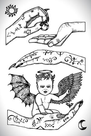Demon child sitting in hands. Vector line art engraved illustration in gothic style. No foreign language, all symbols are fantasy. Occult, esoteric, Halloween and mystic concept. Illustration