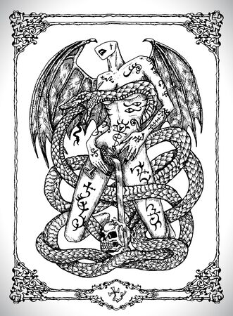 Snake symbol. Vector line art mystic illustration. Engraved drawing in gothic style. Occult, esoteric and fantasy concept.