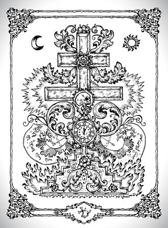 Cross symbol with baroque decorations. Vector line art mystic illustration. Engraved drawing in gothic style. Occult, esoteric and fantasy concept.