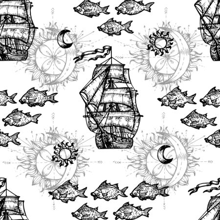 Seamless nautical background with ship and fish symbols. Vector engraved illustration in mystic style.