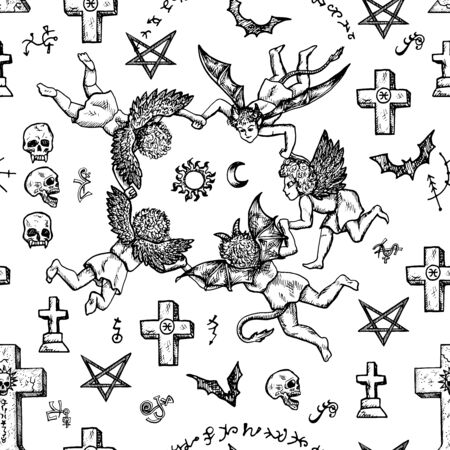 Seamless background with angels, demons and crosses. Vector engraved illustration in gothic and mystic style. No foreign language, all symbols are fantasy.