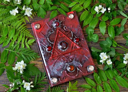 Magic spell book of green witch with herbs on altar table.  Esoteric, gothic and occult concept, Halloween mystic background, divination ritual
