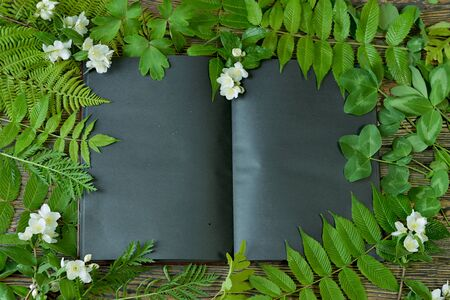 Open black book with green leaves and white flowers on witch table. Esoteric, gothic and occult concept, Halloween mystic background, divination ritual