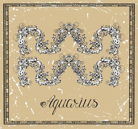 Aquarius or Water Bearer Zodiac sign on frame on texture. Collection of astrological symbols in baroque victorian style. Vector hand drawn illustration for Horoscope, Esoteric and Mystic background