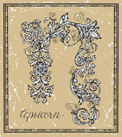 Capricorn or Goat Zodiac sign on frame on texture. Collection of astrological symbols in baroque victorian style. Vector hand drawn illustration for Horoscope, Esoteric and Mystic background Ilustracja
