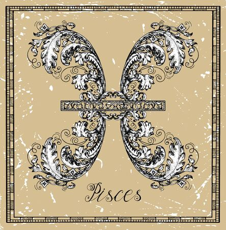 Pisces or Fish Zodiac sign on frame on texture. Collection of astrological symbols in baroque victorian style. Vector hand drawn illustration for Horoscope, Esoteric and Mystic background