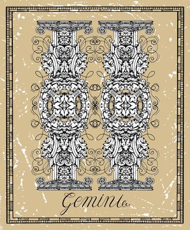 Gemini or Twins Zodiac sign on frame on texture. Collection of astrological symbols in baroque victorian style. Vector hand drawn illustration for Horoscope, Esoteric and Mystic background