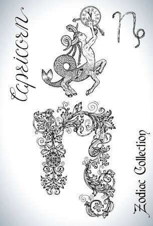 Set with Capricorn zodiac sign and mascot drawing. Collection of astrological symbols in baroque victorian style and characters. Vector hand drawn illustration for Horoscope, Esoteric and Mystic design