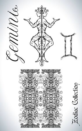 Set with Gemini zodiac sign and mascot drawing. Collection of astrological symbols in baroque victorian style and characters. Vector hand drawn illustration for Horoscope, Esoteric and Mystic design