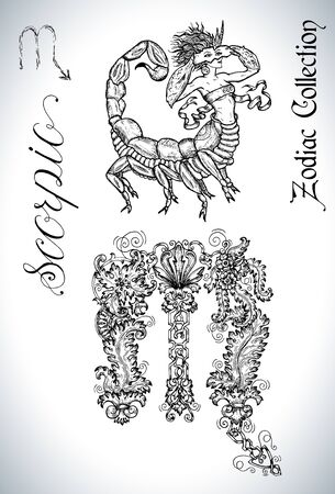 Set with Scorpio zodiac sign and mascot drawing. Collection of astrological symbols in baroque victorian style and characters. Vector hand drawn illustration for Horoscope, Esoteric and Mystic design