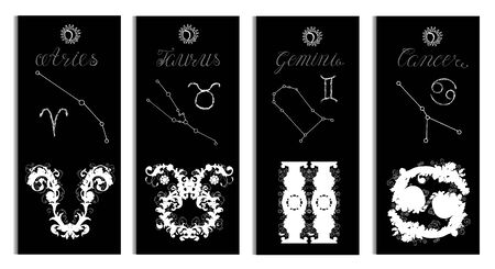 Poster with Aries, Taurus, Gemini and Cancer Zodiac Sign and constellation. Collection of astrological symbols in victorian and baroque style. Design set with vector illustration for Horoscope