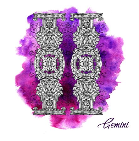 Gemini or twins Zodiac Sign on purple watercolor background. Collection of astrological symbols in baroque victorian style. Hand drawn illustration for Horoscope, Esoteric and Mystic design concept. Stock fotó