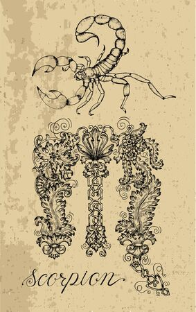 Scorpio Zodiac Sign and fantasy mascot on texture. Collection of characters and astrological symbols in victorian style. Vector line art illustration for Horoscope, Esoteric and Mystic design