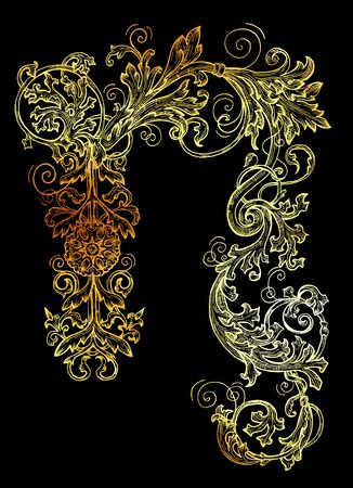 Golden Capricorn zodiac sign on black background.  Collection of astrological symbols in baroque victorian style. Graphic illustration for Horoscope, Esoteric and Mystic design concept. Archivio Fotografico - 131067670