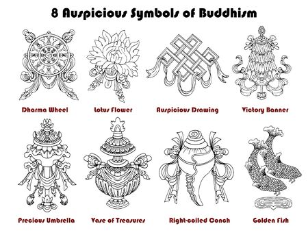 Design set with eight auspicious symbols of Buddhism isolated on white. Religious hand drawn vector illustration, buddhist background