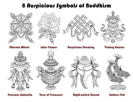 Design set with eight auspicious symbols of Buddhism isolated on white. Religious hand drawn vector illustration, buddhist background