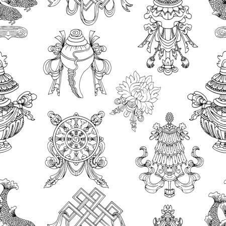 Seamless pattern with black and white eight auspicious symbols of Buddhism. Religious hand drawn vector illustration, buddhist background