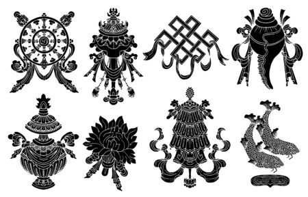 Design set with eight black silhouettes of auspicious symbols of Buddhism isolated on white. Religious hand drawn vector illustration, buddhist background
