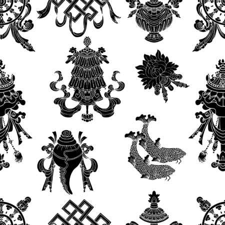 Seamless pattern with eight black auspicious symbols of Buddhism. Religious hand drawn vector illustration, buddhist background Archivio Fotografico - 131067683