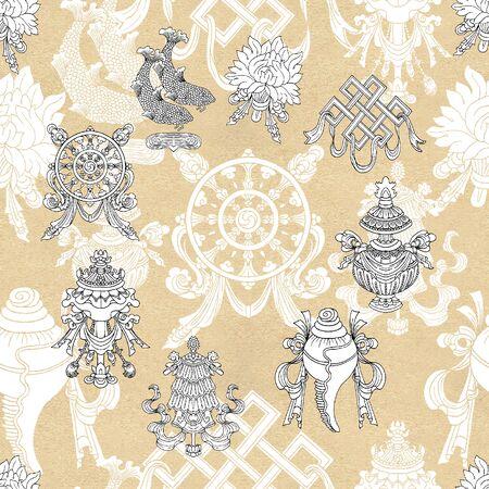 Nahtloses Muster mit acht weißen glückverheißenden Symbolen des Buddhismus. Religiöse handgezeichnete Illustration, buddhistischer Hintergrund