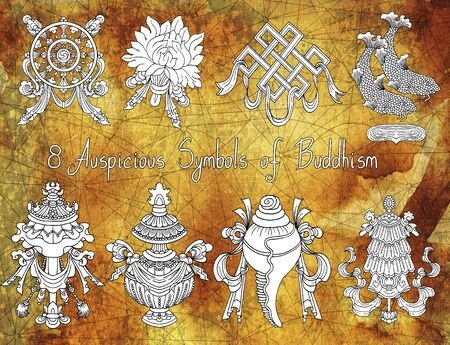 Design collection of eight auspicious symbols of Buddhism on grunge paper texture. Religious hand drawn illustration, buddhist background Archivio Fotografico - 131067686