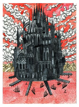 Black medieval castle on island with harbors and ships against cloudscape drawing.