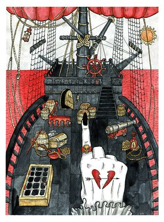 Ship deck and pirate captain hand pointing direction in blood sea. Colorful graphic engraved illustration. Fantasy and mystic drawing. Gothic, occult and esoteric background for Halloween