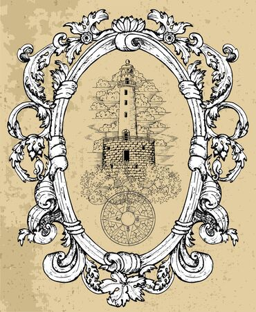 Old lighthouse with compass in baroque frame. Ilustrace