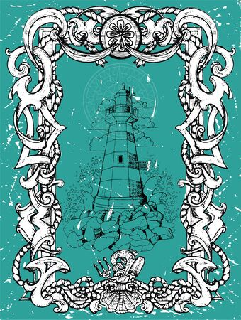 Antique lighthouse tower in nautical baroque frame.