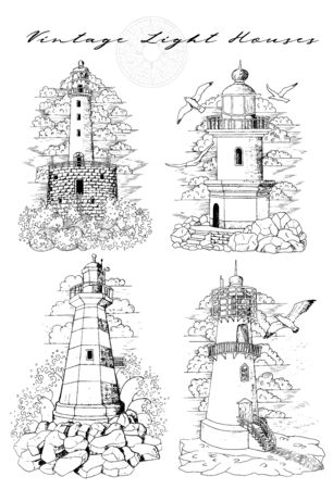 Design set of old medieval lighthouses isolated on white.