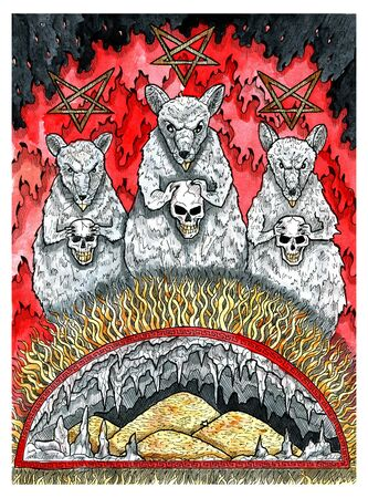 Scary rats holding human skulls against flame and treasures. Colorful graphic engraved illustration. Fantasy and mystic drawing. Gothic, occult and esoteric background for Halloween Archivio Fotografico - 132186734