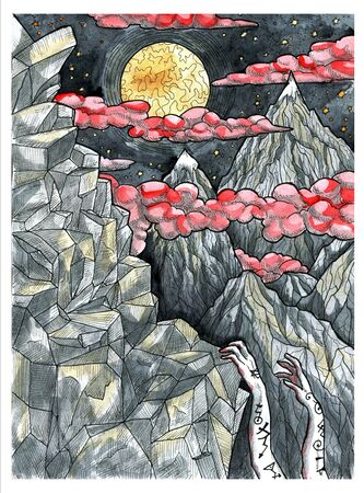 Mountain with rocks and hands of alpinist climbing against full moon. Colorful graphic engraved illustration. Fantasy and mystic drawing. Gothic, occult and esoteric background for Halloween Stock Photo